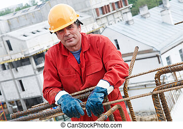 worker builder at construction site