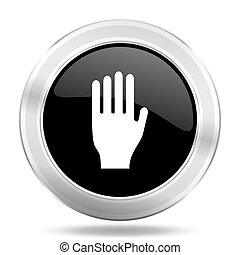 stop black icon, metallic design internet button, web and...