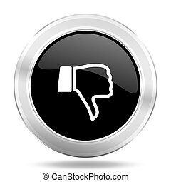 dislike black icon, metallic design internet button, web and...