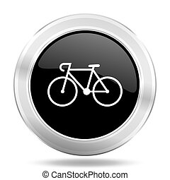 bicycle black icon, metallic design internet button, web and...