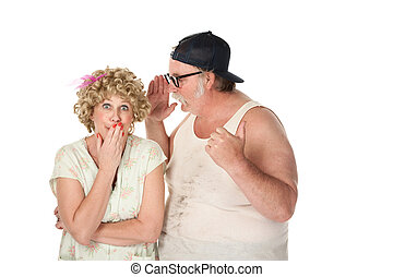Man sharing a secret with a woman on white background -...