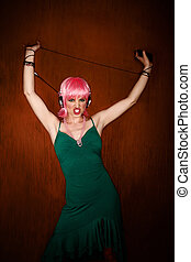 Disco Woman with Pink Hair - Disco dancing woman in green...