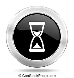 time black icon, metallic design internet button, web and...