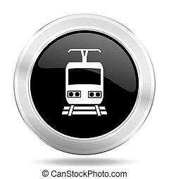 train black icon, metallic design internet button, web and...