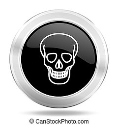 skull black icon, metallic design internet button, web and...