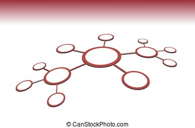 Vector illustration of red network abstract sctructure. Line...