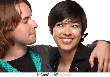 Diverse Caucasian Male and Multiethnic Female Portrait...