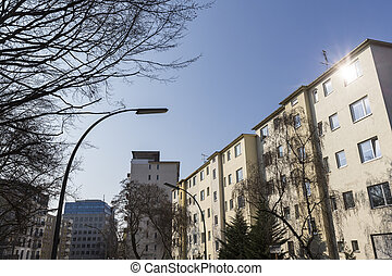 houses in Berlin Kreuzberg with blue sky