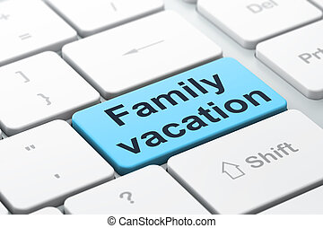 Tourism concept: Family Vacation on computer keyboard...