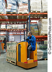 order picker loader in warehouse - low level picker loader...