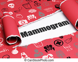 Medicine concept: black text Mammogram under the piece of...