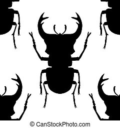 pattern with silhouette of bugs - Seamless pattern with...