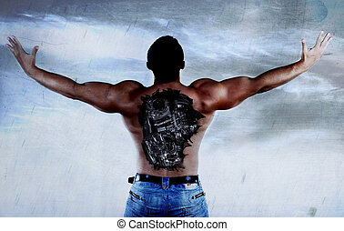 cyborg - athletic cyborg with injuries in a back