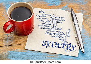 synergy word cloud on napkin