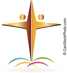 Teamwork cross logo - Gold people making a cross symbol logo