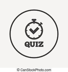 Quiz sign icon Questions and answers game Flat quiz timer...
