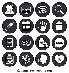 Medicine, medical health and diagnosis icons - Wifi,...