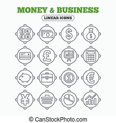 Money and business icon Cash and cashless money - Linear...