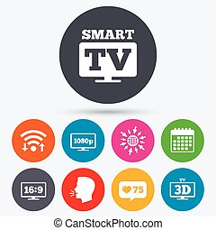 Smart TV mode icon 3D Television symbol - Wifi, like counter...