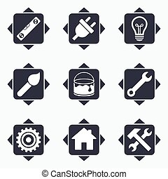 Repair, construction icons Hammer, wrench tool - Icons with...