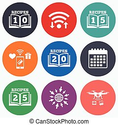 Cookbook icons Twenty five recipes book sign - Wifi, mobile...