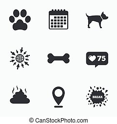 Pets icons Dog paw and feces signs - Calendar, like counter...
