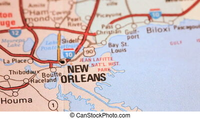 Push pin in New Orleans Map - Map of New Orleans, Louisiana
