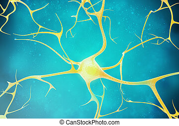 Neurons in the beautiful background 3d illustration of a...