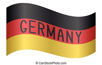 German flag waving with word Germany on white