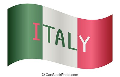 Italian flag waving with word Italy on white