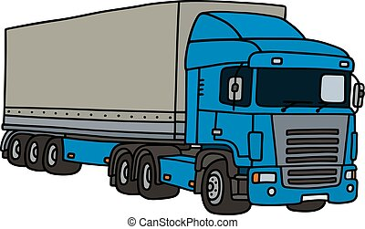 Blue cover semitrailer - Hand drawing of a funny blue towing...