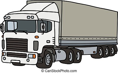 White cover semitrailer - Hand drawing of a funny white...