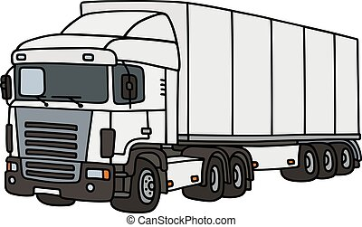 White long semitrailer - Hand drawing of a funny white...