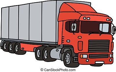 Red and steel long semitrailer - Hand drawing of a funny red...
