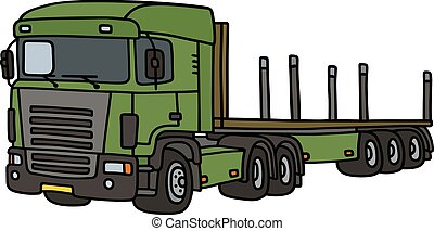 Green flat semitrailer - Hand drawing of a funny green...