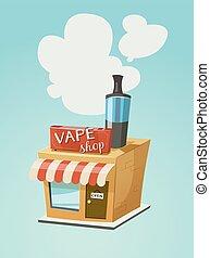 Vape shop store front with a cloud of vapor. Vector cartoon...