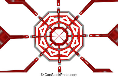 abstract createive kaleidoscope red color