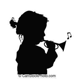 child with trumpet silhouette illustration - child with...