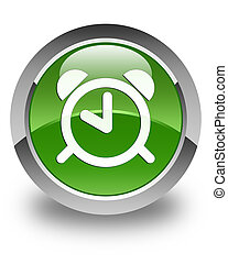 Alarm clock icon glossy soft green round button