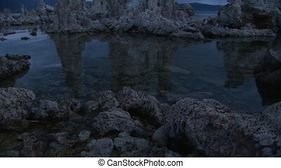 Sunrise at Mono Lake - Tufa formations at Mono Lake,...
