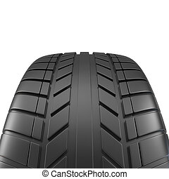 Car tire close-up, on white background. 3d illustration