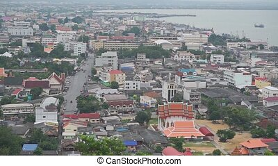 Thai city of Songkhla establishing shot clip