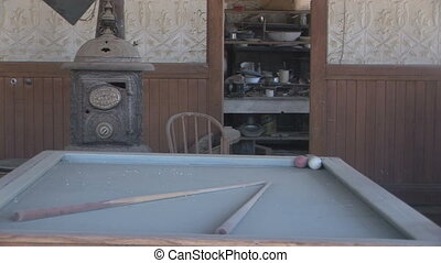 Ghost Town Pool Hall - Interior of an abandoned building in...