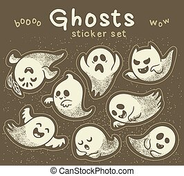 Sticker set of cute cartoon ghosts with different facial...