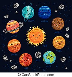 Planets colorful vector set on dark background.