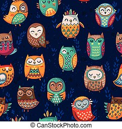 Seamless pattern with tribal owls - Seamless indian owl...