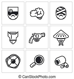 Vector Set of Military Rehabilitation Icons. Health, Mind,...