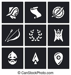 Vector Set of Mongol Tatar Yoke Icons - The conquest of...