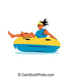 Young girl having lots of fun on rubber ring going down the water slide. Vector Cartoon Illustration.