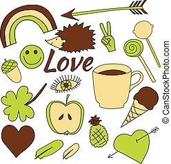 hand drawn doodles collection vector illustration coffee, apple, ice cream, heart, arrow, rainbow, clover, love, acorn, lollipop, feather, hedgehog, pineapple isolated on white background